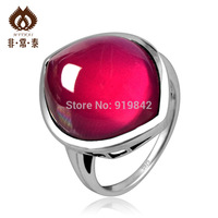 Free shipping 925 pure silver red corundum ring fashion finger ring silver jewelry women's   accessories