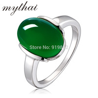 Free shipping 925 pure silver thai silver ring female accessories natural green agate ring personalized   accessories