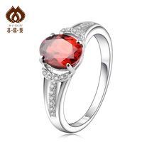 Free shipping Garnet ring women's 925 silver gold plated fashion   accessories