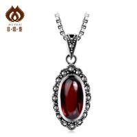 Free shipping 925 pure silver thai silver garnet pendant handmade ruby Women accessories pendant  necklaces & pendants