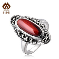 Free shipping 925 silver thai silver red zircon vintage female fashion ring   accessories