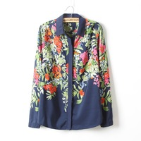 Winter Style Women's Quality Floral Printed Long Sleeve Shirt, Casual Blouse, Hot Item D150-43-063
