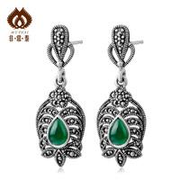 925 pure silver thai silver long design vintage green agate cutout  drop  female