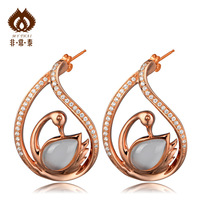 2012 moonstone rose gold  pure silver big female  sterling silver brand accessories Drop Earrings