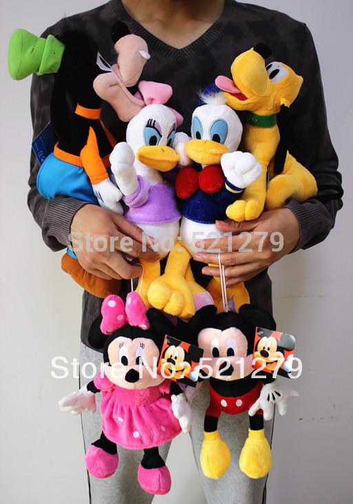 Free shipping 6pcs/set Mickey and Minnie Mouse,Donald duck and daisy,GOOFy dog,Pluto dog,Mickey&Minnie plush toys set(China (Mainland))