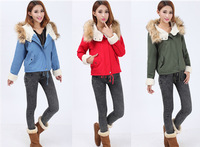 Free Shipping New 2014 Winter Jacket Women Fashion Warm Hooded Military Faux Fur Short Parka Coat Overcoat Thick M L XL