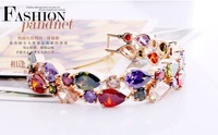 Vintage Luxury Zircon Bracelets for Women,Delicate Bridal Bijouterie,Birthday Gift Bijoux,K Gold.Wholesale 2pcs 8%OFF,CB018