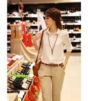 2013 Korean version Long-sleeved chiffon shirt OL professional women bottoming shirt chiffon shirt white shirt