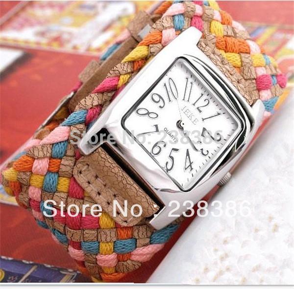 TGJW003 Fashion Casual Women Watches Braided Bracelet Leather Strap Wristwatches Korean Rope Women Dress Watches Quartz Clocks(China (Mainland))