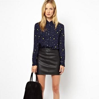 ST875 New Fashion Ladies' blue hearts print blouses elegant long sleeve stylish Shirt casual slim brand designer tops