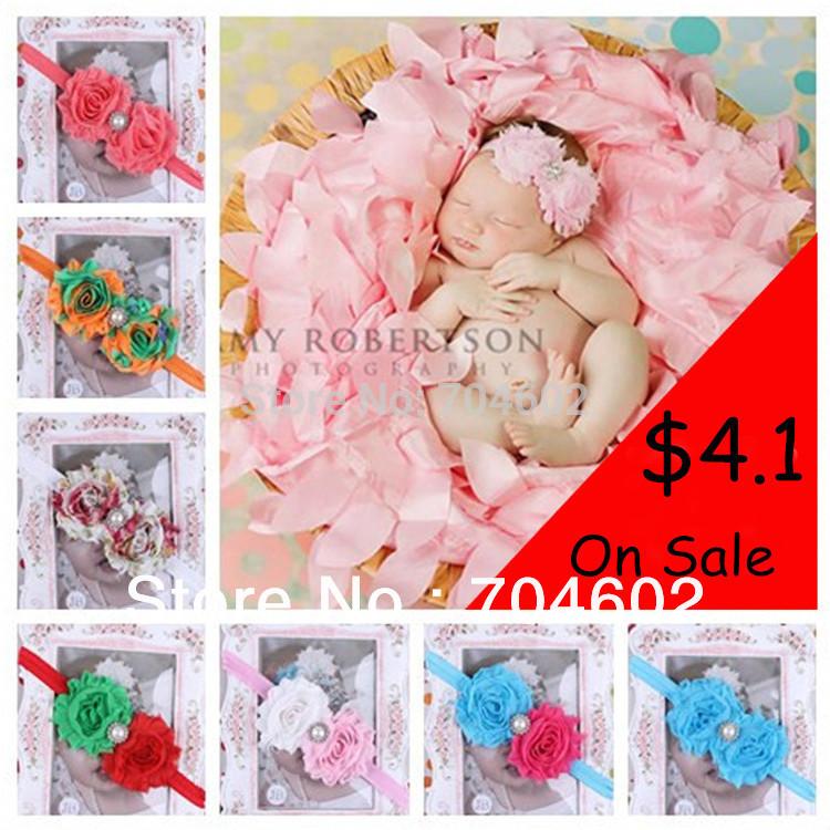 Einzelhandel 1 Stück 2014 neues baby stirnbänder doppelt shabby chiffon blumen mit cz diamant-taste haarband kinder zubehör fd214