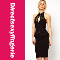 Maxi Long New 2014 Sexy Fine Fashion Red Peplum Lace Halterneck High Neck Pencil Midi Dress for Women Black White Party