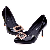 Fall Shallow Mouth Metal Buckle Thin Heel Pointed Toe High Heels Shoes