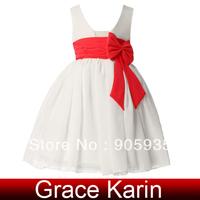 Free Shipping!Christmas!Grace Karin Satin Chiffon Bow-knot  Flower Girl Princess Kid Ball Wedding Pageant Party Dress CL4608