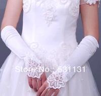 Bridal gloves fingerless embroidered satin gloves pure white gloves