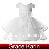 Free Shipping!Sweetheart Grace Karin Flower Little Girls Princess Bridesmaid Wedding Pageant Party Gown Ball Dress White CL4606
