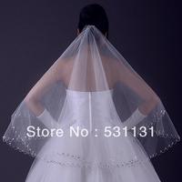 Freeshipping wedding accessories 1.5 meters bead White bride veil