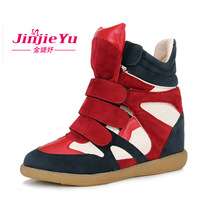 2013 new Hot-selling star velcro elevator color block decoration single sport casual high-top female shoes SJ1120
