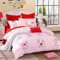 Promotion!!!4pcs Luxurious Embroidery Wedding Duvet Cover Set/100% Cotton Bedding Sets/New Fashion Bedding Set/Size Full Queen