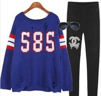 Free shiping women's Pullover letter hiphop street loose plus size sweater female dress