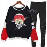 women Fashion loose vintage plus size pullover fleece thickening patchwork color block skull sweatshirt women dress 230
