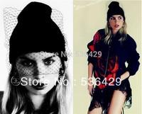 Free shipping Fashiom hat supermodel veil street snap net yarn knitted cap wool hat autumn winter Hats For Women Women's Beanies