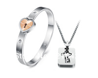 2013 New Fashion Stainless Steel Heart Lock Bracelet Bangle And Key Necklace Jewelry Set For Lovers Free Shipping