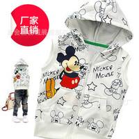 children's clothing Cartoon hello litty Mickey 100% Cotton Long-sleeved  Hooded  Vest  Zip Jacket