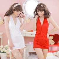 100% genuine temptation white deep V-neck big tight-fitting halter-neck short skirt small sexy uniform+ Free shipping
