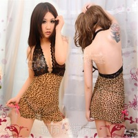 100% authentic women's leopard print deep V-neck clairvoyant outfit temptation slim hip nightgown  + Free shipping