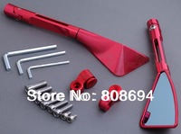 Motorcycle CNC Tomok L&R Rear Side Mirrors Red Street Bike