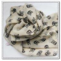 Free shipping 2013 designer warm women autumn-summer skull and crossbones printed velvet chiffon scarf Calavera/caveira cachecol