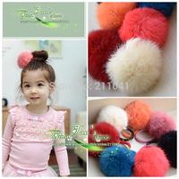 15 pcs Free Shipping New Fashion Super Cute Hairy Fur Balls Hair Ring girl kids Hair Elastic Holder Rope g5