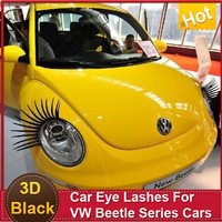 2pcs of Car Eye Lash 3D Funny Beetle Eyelashes Charming False Black Decal Decoration for VW Headlight Sticker free shipping