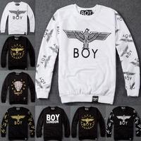 2014 Winter Harajuku Boy London eagle pattern zipper punk fashion lovers printed long-sleeved sweater coat thick sweatshirt