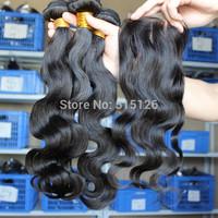 Peruvian Virgin hair Body Wave 3 pcs Hair bundles With1pc Three/3 Part Lace Closure Peruvian Virgin Hair 4pcs lot Free Shipping