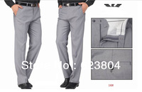 Elegant  Gray  Worsted Men Dress Suits Pants Slim Fit Business& Leisure Trousers Comfortable Tuxedo Pants