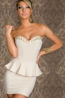 S M L Plus Size Freeshipping 2013 New Fashion Europen And American Style Sexy Spike Stud Party Dress For Women 1349