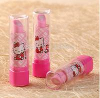 36pcs fashionable eraser novelty Hello kitty cute korean Cartoon eraser for Kids gift Lipstick rubber free shipping