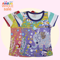 FREE SHIPPING AJ15265 AJIDUO Children Clothing Embroidered Flower With Elephant Girls Summer Short Sleeve T-shirts 6Pcs/lot