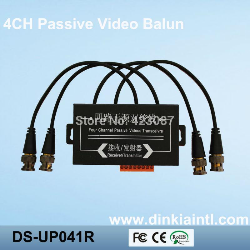 4-kanal-video balun für cctv dvr-kamera 3 jahre garantie, bnc auf utp rj45-transceiver, Reichweite: 330m, ds-up041r