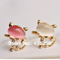 Min.order is $9 (mix order) Free Shipping ! Hot Fashion New cute Little Cat Opal Ring Finger Opening Ring R3006