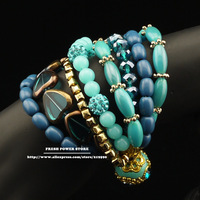 New Fashion Jewelry Blue Heart Beads Bijouterie Gold Alloy Plated Magnetic Clasps European Style Bracelets for Women Girls Gifts