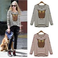 2014 Cyber Monday Sale  Ladies Cotton Shirt Owl Stripe Women Long Sleeve Tops Plus Size T-shirt Novelty Blouse 9033