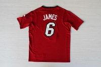 Free Shipping! 2013-2014 Christmas version #6 LeBron James red Basketball tshirt
