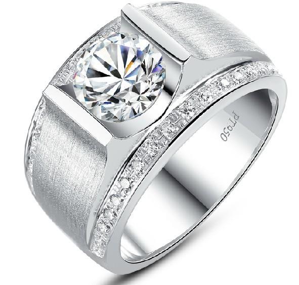 de-luxe-bague-1-carat-diamant-synthétique-bande-large-d-argent-bague ...