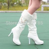 Winter Cheap female shoes  women's boots white medium-leg platform high-heeled platform  tall boots Three  wearings  shoes