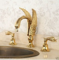 Luxury Bathroom Golden Brass Swan Sink Faucet Mixer Tap Dual Handles Deck Mounted