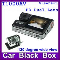"2014 New Arrival Dual lens I1000AV Car camera dvr  1280*720P Car vehicle 2.0"" TFT  G-sensor 120 degree wide angle Night vision"