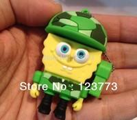 New cartoon sponge bob soldiers model usb 2.0 memory flash stick thumb pen drive free shipping